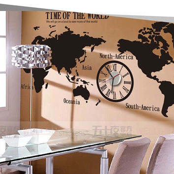 World map wall decals  Removable Living room Wall decals