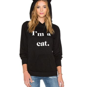 Cute Unique I'm A Cat Printed Womens Loose Sweater Best Gifts