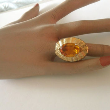 Art Deco Cocktail Ring Huge Topaz Glass Mad Men Fashion Party Jewelry