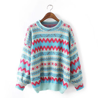 Tribal Pattern Knitted Sweater