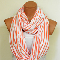 Infiniti Scarf, textile Orange and White Scarf,Loop Scarf,Circle Scarf,Cowl Scarf,Nomad Cowl....Striped Scarf