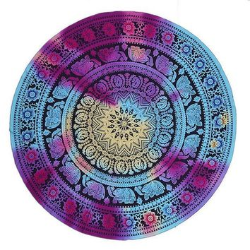 ESB1ON Portable Multifunction Shawl Sunscreen Beach Towel Wrapped Beach Mat Wall Bohemian Mandala Round Beach Tapestry Hippie Blanket