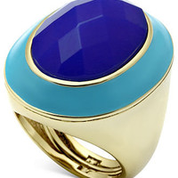 Glitterings Ring, 14k Gold-Plated Blue Oval Stone Enamel Ring - All Fashion Jewelry - Jewelry & Watches - Macy's