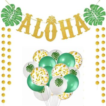 Hawaiian Aloha Party Decorations Large Gold Glittery Aloha Banner For Luau Party Supplies