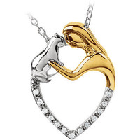 """Sterling Silver & 10k Gold Tender  .06 cttw Diamond Lady/Cat Heart Necklace 18"""""""