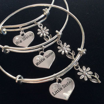 Choice of Little Sister, Middle Sister or Big Sister Charm Bangle Adjustable Expandable Meaningful Gift