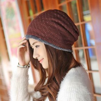 DCCKJG2 Caps Winter Female Hats Warm Lining Skullies & Beanies Hip-hop Slouch Mens Knitted Cap Women Winter Hat Fleece Beanies Gorros