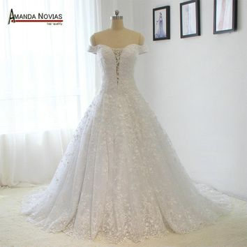 Vintage Off Shoulder Short Sleeve Lace Wedding Dress