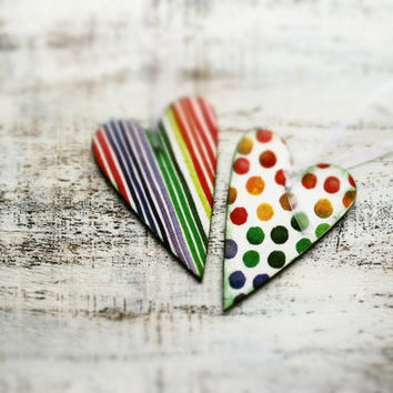 Set of 2 wooden Christmas ornaments Christmas decoration, heart, white green blue red polka dot stripes