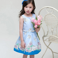 Flower Print Dress - Blue