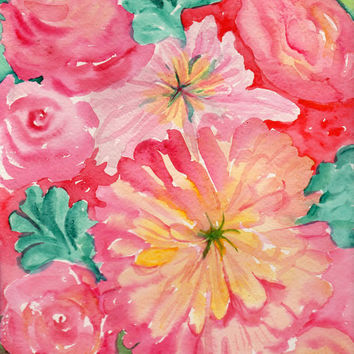 Pink Peonies, Dahlias and Succulents Floral Watercolor Painting, Original Flowers painting