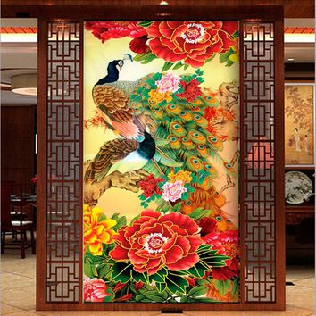 New Living Room Wall Decoration Chinese Peacock Flowers Diamond Painting 5D DIY Square Full Diamond Embroidery Cross Stitch Kit