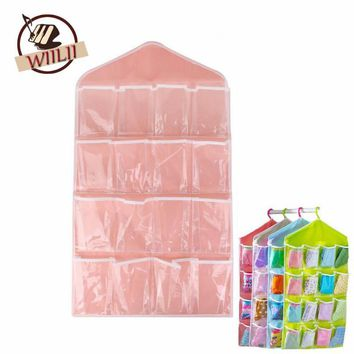 1PCS Polyester 16 Pockets Home Door Wall Vertical Hanging Wall Storage Organizer For S
