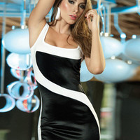 Black and White Sleeveless Square Neckline Bodycon Mini Dress