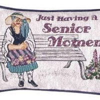 "Set of 2 ""Senior Moment"" Park Bench Decorative Throw Pillows 9"" x 12"": Home & Kitchen"
