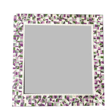 Square Mosaic Wall Mirror in Purple Green and White