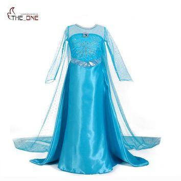 MUABABY Girls Elsa Princess Dresses Kids Long Sleeve Beadings Dress up Party Costume Snow Queen Floor Length Cosplay Supplies