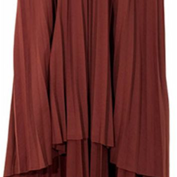Brown Flair Pleated Skirt