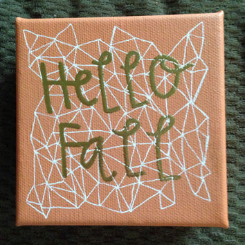 """READY TO SHIP: 4""""x4"""" burnt orange canvas with white detail and gold embossed """"hello fall"""""""
