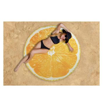Round Fruit-Print Chiffon Beach Blanket