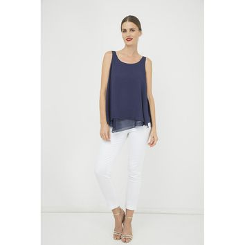 Blue Round Neck Sleeveless Top