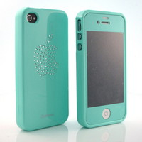 Bling Rhinestone Hard Mint Silicone case cover+Mint Screen for iPhone 4 4G 4S