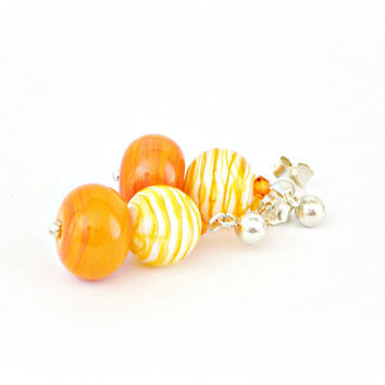 Tangerine and yellow lampwork glass sterling silver earrings