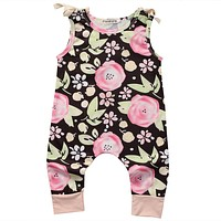 born Baby Girl Clothes Summer Sleeveless Floral Romper Outfit Toddler Kids Clothing