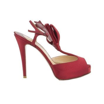 52074 auth CHRISTIAN LOUBOUTIN red satin Platform RIBBON Sandals Shoes 37.5