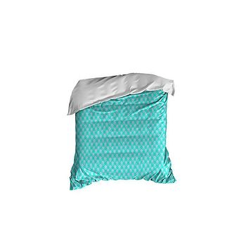 Turquoise and Gray Scales Pattern Crib Comforter