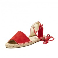 Soludos Balaeric Tie-Up Sandal in Fire Red - Soludos Espadrilles