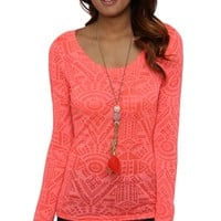 long sleeve triangle aztec burnout print tee