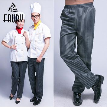 Unisex Men Striped Elastic Waist Work Pants Cozinha Hotel Chef Cooking Waiter Workwear Food Service Kitchen Casual Long Trousers