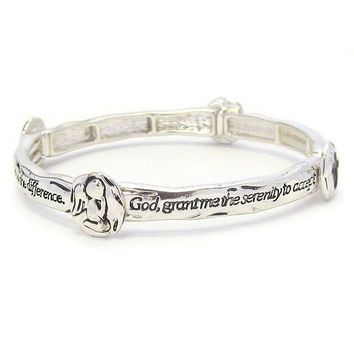 Religious Inspiration Serenity Prayer Stackable Message Stretch Bracelet