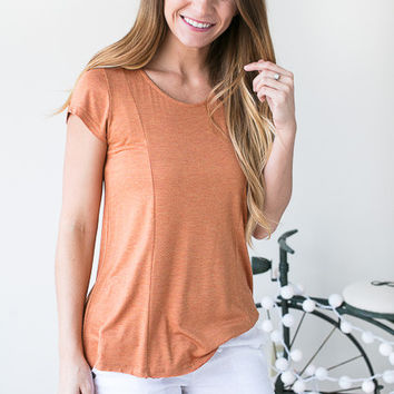 My Show Cap Sleeve Lace Up Blouse - Rust