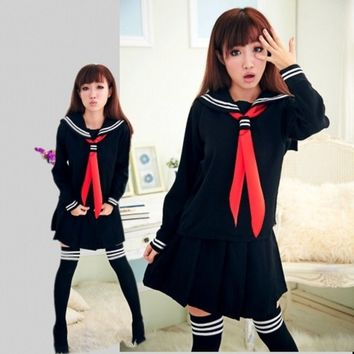 Fashion JK Japanese Navy Sailor School Uniforms for Cosplay Girls Suit Long Long Sleeve