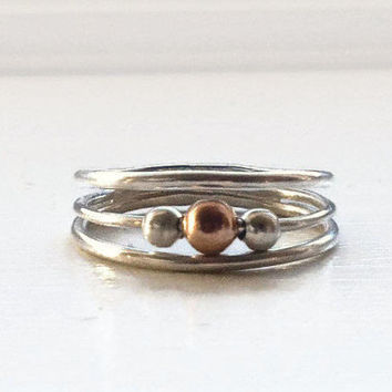 Fidget Ring-Rose Gold & Silver-Fiddle Ring for Women-Worry Ring-Spinning Ring-Anxiety Ring-Meditation Ring-Minimalist Ring-Fidget Jewelry