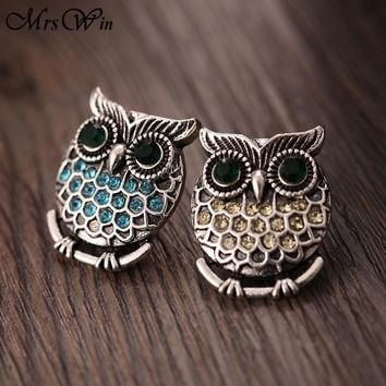10pcs/lot Snap Jewelry Vintage Metal Owl Snap Button Fit 18MM Snap Bracelet for Women DIY Charms Jewelry
