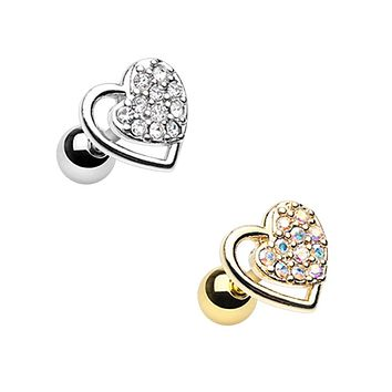 Silver & Gold Dreamy Heart Cartilage Tragus Earring