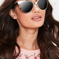 Missguided - Gold Cat Eye Contrast Sunglasses