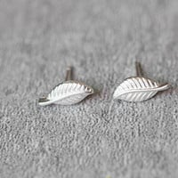 Delicate Tree Leaf Earrings, Sterling Silver Leaf Stud Earrings, Leaves Earrings, Minimalist Earrings, Leaf Studs, Leaf Jewelry,gift for her