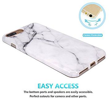 iPhone 7 Plus Case, JAHOLAN White Marble Design Slim Shockproof Flexible Smooth TPU Soft Case Rubber Silicone Skin Cover for Apple iPhone 7 Plus