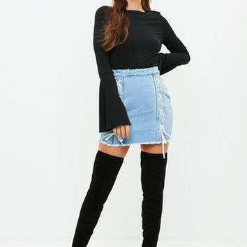 Missguided - Blue Double Lace Up Denim Mini Skirt