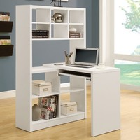 Monarch Hollow-Core Left or Right Facing Corner Desk with Hutch - White | www.hayneedle.com