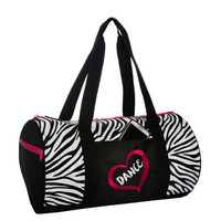 Zebra Heart Dance Duffel Dance Bag FREE Personalization Recital Valentine Easter Birthday Gift Dance Recital Medium Size