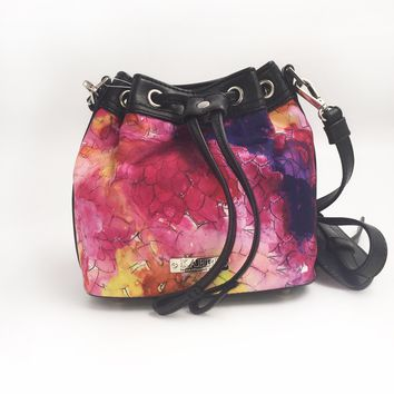 Dahlias Nylon Mini Bucket Bag