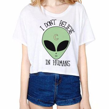 I Don't Believe in Humans Alien Crop Top Tee