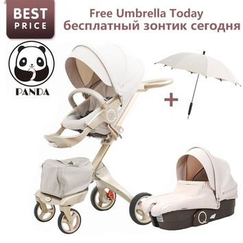 Luxury Baby Stroller With Umbrella Fold 2 In 1 Stroller Baby Pram European Stroller Brands Pushchair Infant Tricycle For Newborn