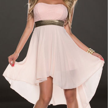 Pink Strapless Midi Chiffon Dress