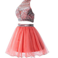 Homecoming Dresses Watermelon Two Pieces Backless Short Prom Homecoming Dresses